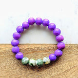 Wood Bead and Gemstone Bracelet Purple