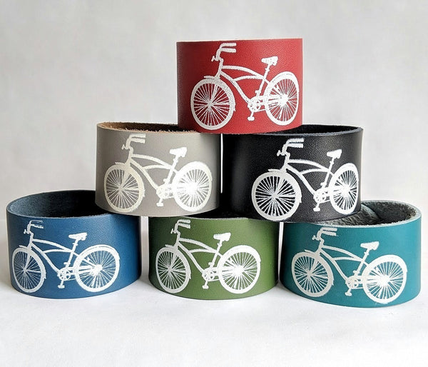 Hand Printed Leather Bracelet Cuff Bike Design