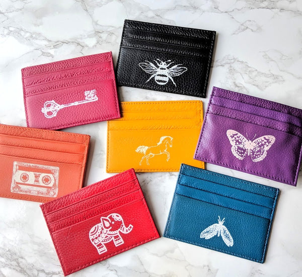 Slim Hand Printed Leather Card Wallet