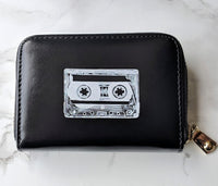 Black Cassette Tape Zippered Wallet READY TO SHIP!