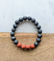 Wood Bead and Gemstone Bracelet Black and Brown
