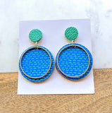 Printed Leather Earrings Lines