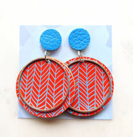Printed Leather Earrings Chevron