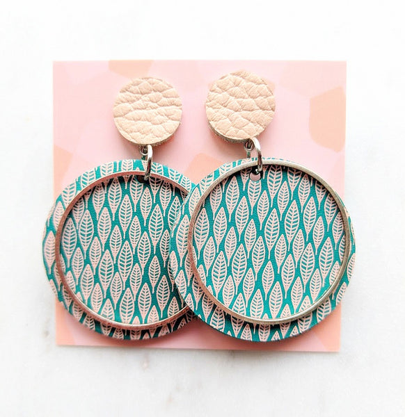 Printed Leather Earrings Leaves