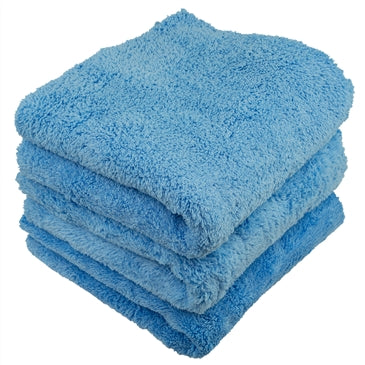 LONG  Blue PILE EDGELESS MICROFIBER TOWELS 16 x16 (3 Pack)