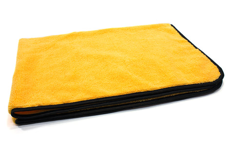 Microfiber Drying Towel  36in 380-GSM Yellow Microfiber and Black Silk Banded Trim