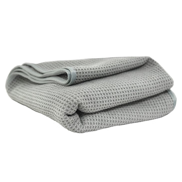 "Waffle Weave Gray Matter Microfiber Drying Towel, 36"" x 25"""