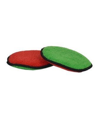 Green/Red  Soft & Plush Round Microfiber Wax Applicator