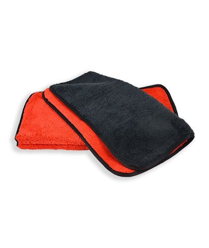 "16""x16"" Microfiber Dual-Faced Towels Black/Red with Black Trim"