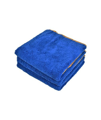 "16""x24"" Microfiber Elite Towel 380 GSM Blue/Gold Trim"