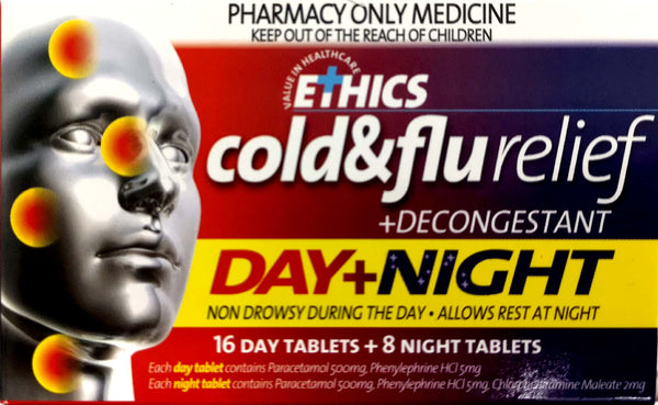 Ethics Cold&Flu Relief +Decongestant Day&Night tablets 24 - Pakuranga Pharmacy