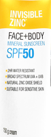 Invisible zinc Face + Body Mineral Sunscreen SPF 50 2 Hr Water resistant Cream 150g - Pakuranga Pharmacy