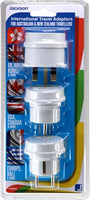 Jackson Pack of 3 Travel Adapters NZ/AU Socket to US, UK, Europe Plug-PTA6663