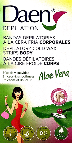 Daen Depilation Aloe Vera body wax Strips 16 - Pakuranga Pharmacy