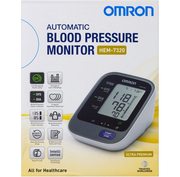 Omron HEM 7320 Ultra Premium Blood Pressure Monitor with New Zealand Adapter