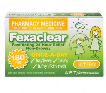 FEXACLEAR For Hay fever, Hives, Itchy Skin Rash 180 MG 30 Tablets