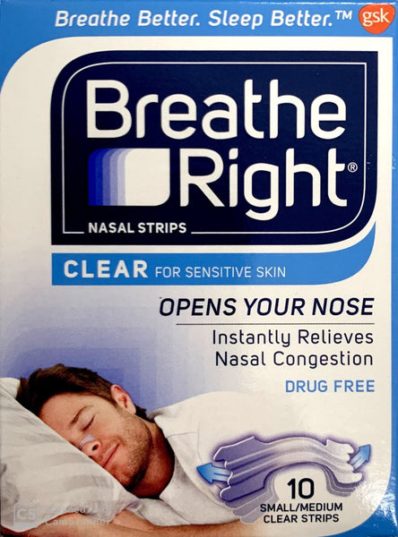 Breathe Right Nasal Strips Clear For Sensitive Skin 10 Small/Medium Strips - Pakuranga Pharmacy