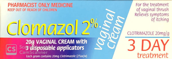 Clomazol 2% Vaginal Cream For Treatment Of Vaginal Thrush 20g - Pharmacist Only Medicine - Pakuranga Pharmacy