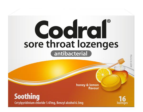 CODRAL Sore Throat Lozenges Honey & Lemon 16 Lozenges (2 Pack) - Pakuranga Pharmacy
