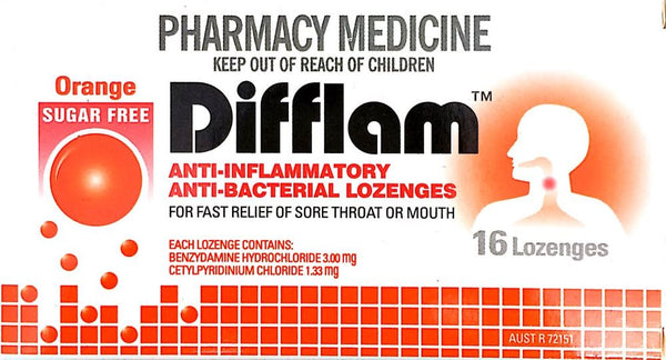 Difflam Lozenges Orange for relief of sore throat 16 Lozenges Pharmacy Medicine - Pakuranga Pharmacy
