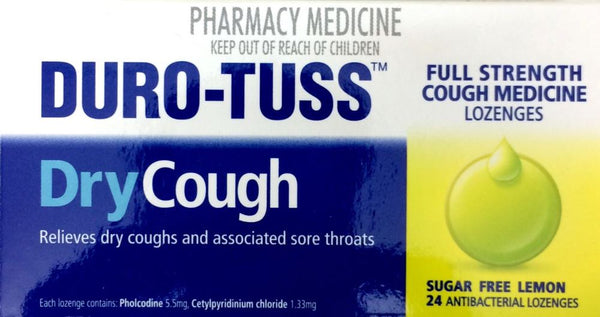 Duro-Tuss Dry Cough Sugar Free Lemon 24 Antibacterial Lozenges - Pakuranga Pharmacy