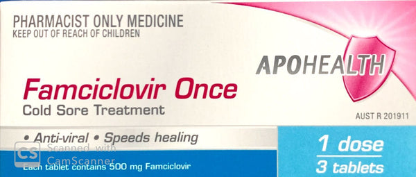 Famciclovir Once Cold Sore Treatment - 1 Dose - 3 Tablets - Pharmacist Only Medicine - Pakuranga Pharmacy