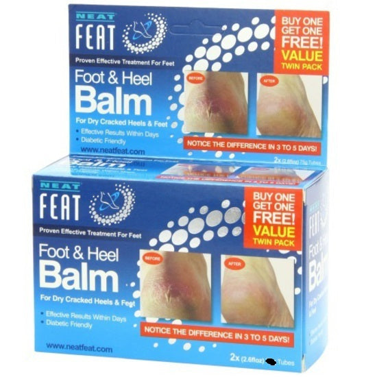 Neat Feat Foot and Heel Balm  For Dry Cracked Feet & Cracked Heels Twin Pack 2*120g