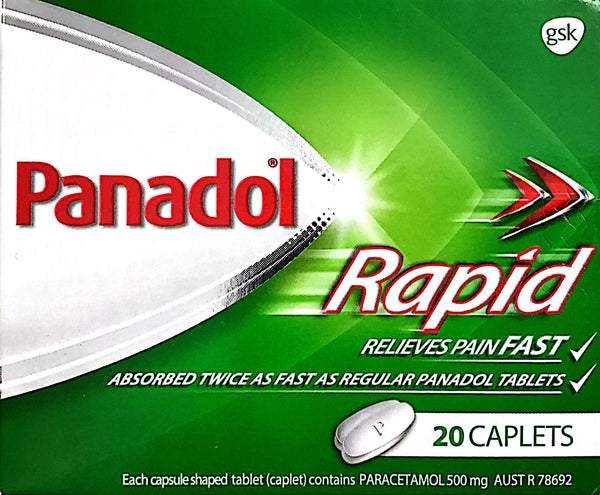 Panadol Rapid Relieves Pain Fast caplets 20 Qty Restriction (1) applies