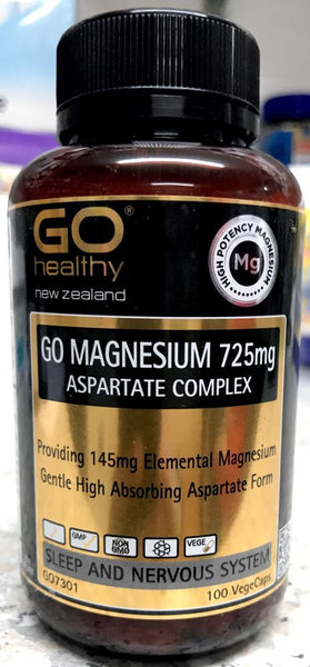 Go Healthy Go Magnesium 725mg Asparate Complex 100 Vege Caps - Pakuranga Pharmacy