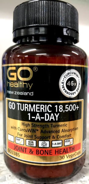 Go Healthy Go Turmeric 18,500+ 1-A-Day 30 Vege Caps - Pakuranga Pharmacy