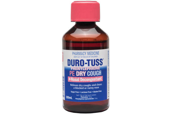 Duro Tuss PE Dry Cough + Nasal Decongestant Liquid 200ml - Pakuranga Pharmacy