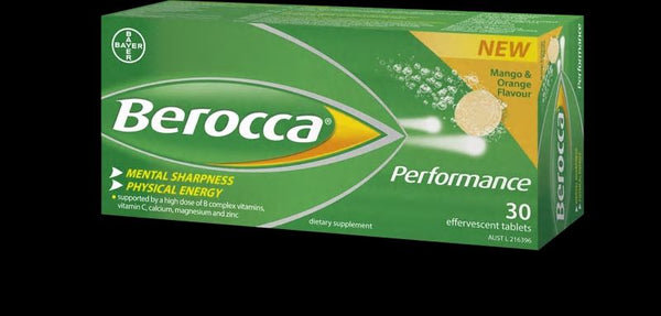 Berocca Performance Effervescent Tablets 30-Mango and Orange
