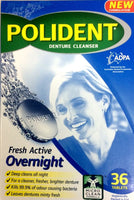 Polident Denture Cleanser Fresh Active Overnight 36 tablets
