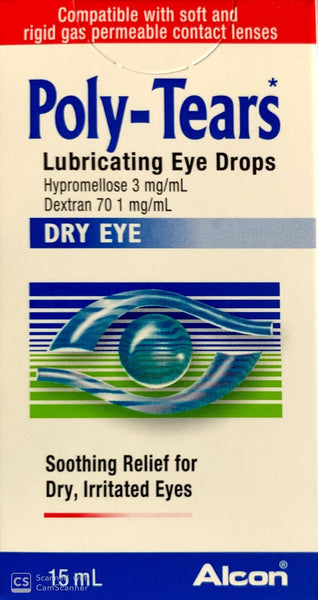Poly Tears Lubricating Eye Drops For Dry & Irritated Eyes 15ml (3 Pack)