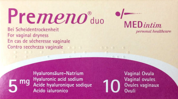 Premeno Duo 5mg Vaginal ovules for vaginal dryness 10 Ovules