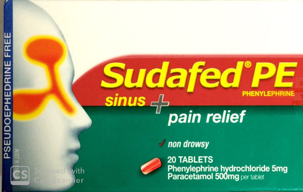 Sudafed PE Sinus Plus Pain Relief 20 Tablets Qty Restriction (1) applies