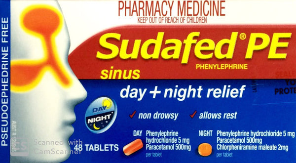 Sudafed PE Sinus Day Plus Night Relief 48 Tablets Qty Restriction (1) applies