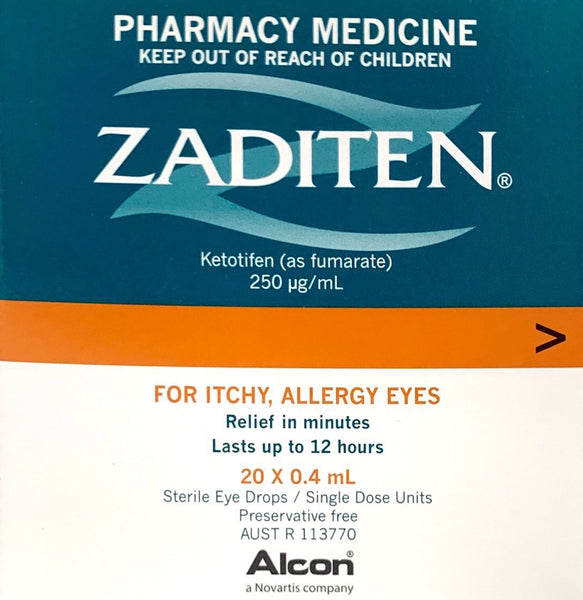 Zaditen Sterile Eye Drops For Itchy , Allergy Eyes 20x0.4ml