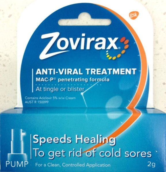 Zovirax (Aciclovir 5%) Cold Sore Cream 2g Pump