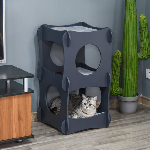 PawHut Wooden Cat House with Soft Cushion