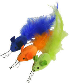 Imperial Cat's Catnip Feather Mouse - Set of 3