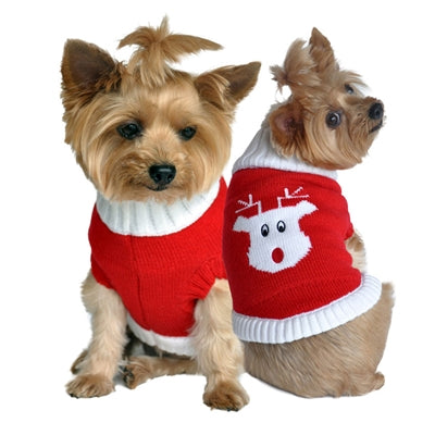 Christmas 100% Pure Combed Cotton Dog Sweater RED RUDOLF