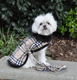 Designer Brown Plaid Classic Harness Coat & Matching Leash