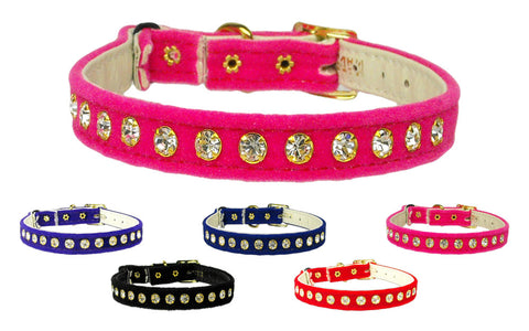 Velvet Rhinestone Cat Collar