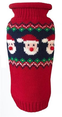 Santa Faces Fair Isle Sweater - NEW