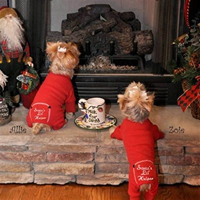 "Christmas Red ""Santa's Lil' Helper"" Embroidered Pajamas"