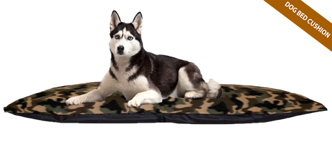 Camo Green Cushion Dog Bed w/ Removable Fleece Cover