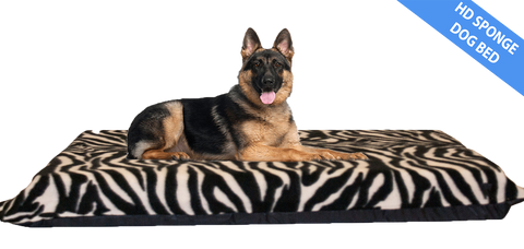 "Zebra Print Dog Bed 4"" Thick Foam Mattress w/ Removable Fleece Cover"