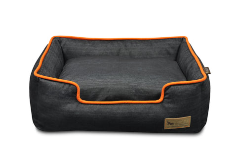 Lounge Bed - Denim with Orange Trim
