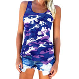 New Camouflage Paw Print Sleeveless T-Shirt For Women